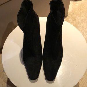 Salvatore Ferragamo Suede Boots Spiked Metal Heel